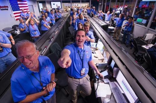 JPL Curiosity Landing Crew Jump for Joy as it is all Good News on the Landing and First Pictures are Sent From Odyssey